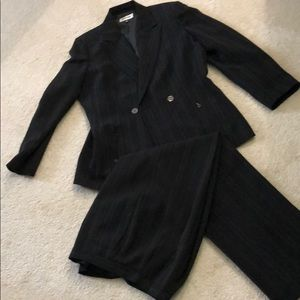 Black pin-striped pantsuit by Kasper